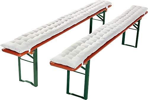 REDBEST Bierbank-Auflage, Sitzauflage Bierzeltgarnitur gepolstert 2er- Pack weiß Größe 25x220 cm - strapazierstark und langlebig, bequemer Sitzkomfort, mit elastischen Bändern