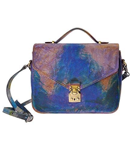 ZLYC da donna stile retrò inclusa in pelle Messenger Satchel Croce Corpo Borsa con serratura dettagli, Gray (grigio) - JC-FLT-180316-GR-1 Multicolour