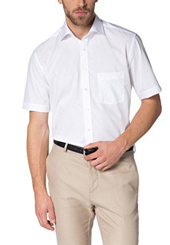eterna Kurzarm Hemd Modern Fit Popeline Unifarben, Gr. 45, 01 Weiß