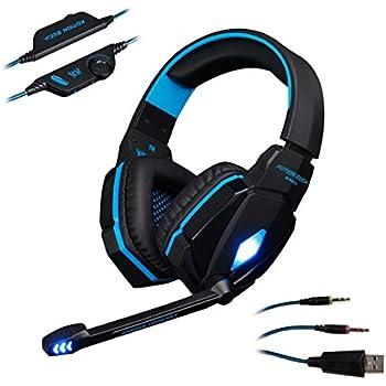 AFUNTA di nuovo ogni 3,5 millimetri G4000 Stereo Plug Confortevole Gaming Cuffia con fascia di volume del Mic Control Professional per i giochi per PC - Blu