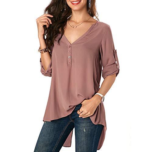 öffnen Knopfhemd Frauen-Chiffon- beiläufige Feste unregelmäßige Lange Hülsen-Hemd-Bluse knöpfen Unten Spitzen-Outdoorbekleidung Oberteile - V-Ausschnitt Streifen Langarmshirts Blusen