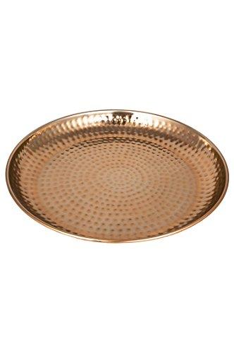 Orientalisches rundes Tablett Schale aus Metall Mia 40cm groß Kupfer | Orient Dekoschale mit hoher Rand | Marokkanisches Serviertablett Rund | Orientalische silberne Deko auf dem gedeckten Tisch (Kupfer Tisch Antik)