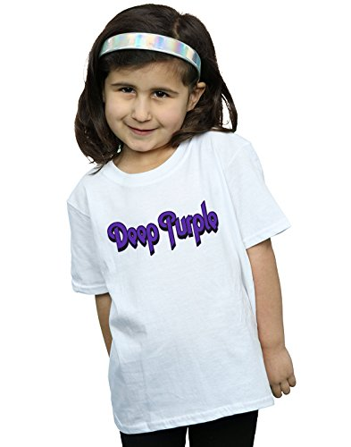 Absolute Cult Deep Purple Fille Outline Logo T-Shirt Blanc 7-8 Years