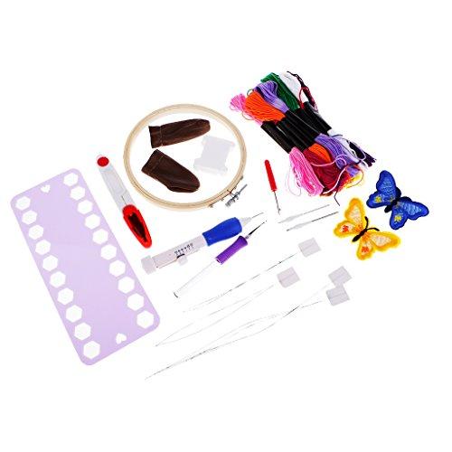 MagiDeal 4 Größen Stickerei Stift Starter Kit Nähen Punch Nadel Handwerk Werkzeug-Set (Punch-stickerei-starter-kit)