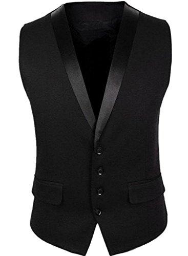 Trial Room Casual Black tuxedo waistcoat blazers for men slim fit party wear