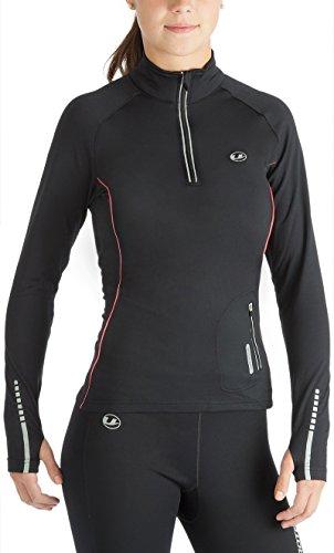 Ultrasport Nelli - Camiseta de correr de manga larga para mujer, color negro, talla S