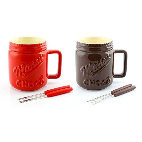 Schokolade Fondue Topf mit Gabeln: Braun
