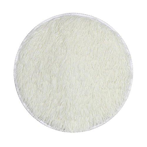 Alfombra de suelo, honestyi® espesan Circular alfombra alfombrillas comedor dormitorio alfombra piso de entrada (40* 40cm–uso en interiores/al aire libre 40x 40cm blanco