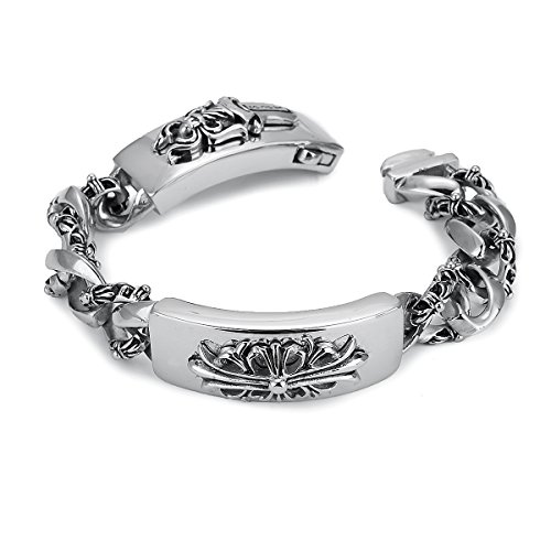 APE7® A301 Gothic Lilien-Kreuz Fleur-De-Lis Edelstahl-Armband Farbe Silber Poliert Biker Kette Heavy Metal
