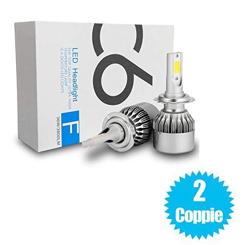 081 Store - 2 Coppie kit lampade luci LED auto moto fari COB H7 C6 7600LM 36W 6000K headlight luce bianca lampadine bulbi auto,moto