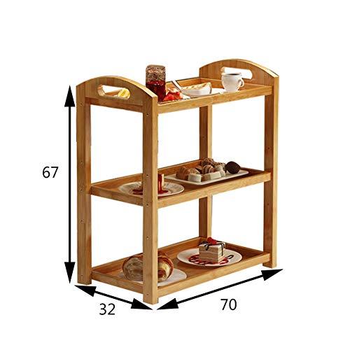 Scolapiatti legno massello stenditoio,cremagliera di immagazzinaggio pavimento a tre livelli mensola rack piatto con ruota spinta pranzo auto servizio carrello da salotto-f
