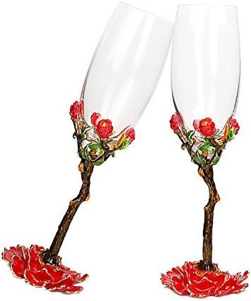 Cristallo creativo della moda europea del rosa fiore di rosa del di base trasparente del calice di vetro coppa di champagne 8f3d95