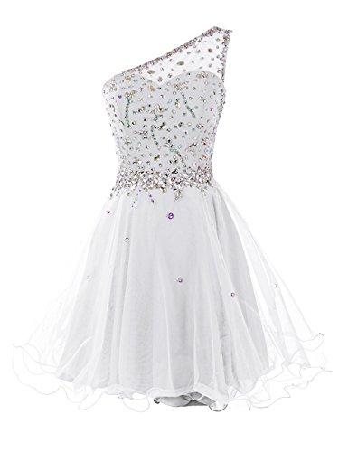 Dresstells Kurz Damen Homecoming Kleider One Shoulder Party Kleider Abiballkleider Weiß