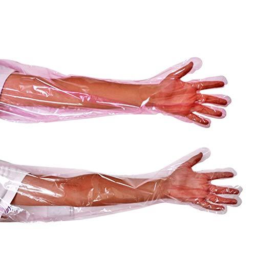 YouU Einweg-Handschuhe aus weichem Kunststoff mit Langen Armen, Tierarzt-Untersuchung, künstliche Insemination Veterinärhandschuhe Für die Untersuchung Oder Besamung (50 Stück/pink) -