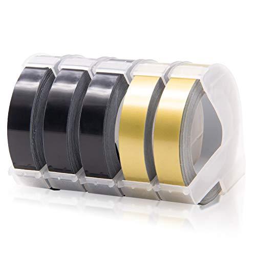 Labelwell Ersatz Dymo Prägeband 3D Kunststoff Prägebändern, Ersatz DYMO Klebendes Vinyl-Prägeetiketten für Dymo Omega Junior Etikettenprägegerät (9mm x 3m, 3x Weiß auf Schwarz, 2x Weiß auf Gold)