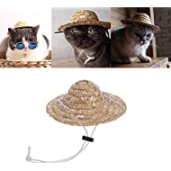Kentop Adjustable Pet Dog Cat Hat Sun Hat Straw Hat with cotton rope