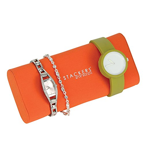 STACKERS ACCESSORY Bright Orange Bracelet and Watch Pad STACKER Accessory for Chocolate Brown STACKER Jewellery Boxes