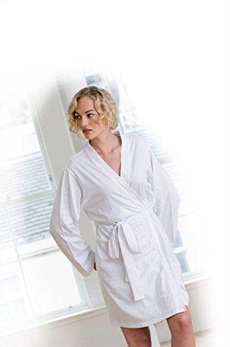 Towel City Womens Wrap Robe Bianco
