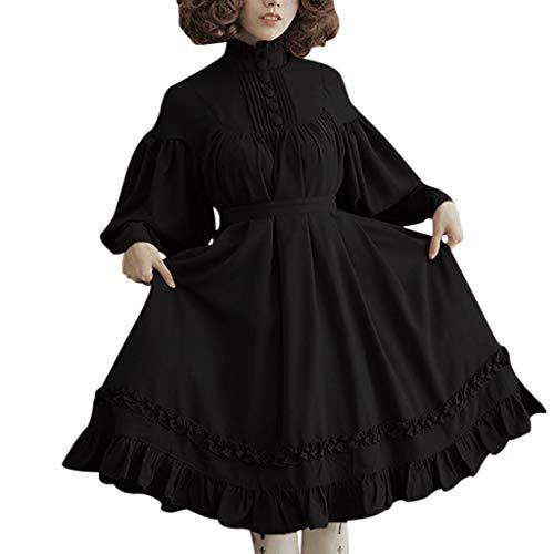 Lolita Kleid Damen Gothic Kleid Piebo Vintage Frau Lange Ärmel Kragen Gekräuselten Schichten Kleid Mittelalterliche Viktorianischen Kostüm Renaissance Maxikleid Partykleid Abendkleid - Viktorianische Weihnachts Frau Kostüm
