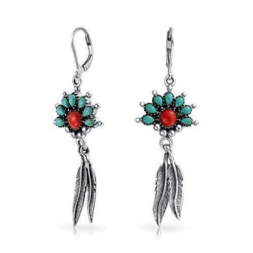 Boho Stil der Ureinwohner Amerikas Verbesserte Turquoise Coral Feder Blatt Lever baumeln Ohrringe 925 Sterlingsilber