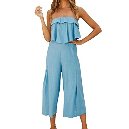 ESAILQ Frauen Sexy Spaghetti Strap Backless Overall Mode Breites Bein Hohe Taille Hosen Overall(M,Blau) (Braune Langarm-overall)