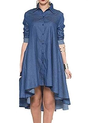 OYMMENEY Damen Kleid Jeanskleid Blusenkleid Denim Shirt Tunika Bluse Sommerkleid Oberteil Damenbluse Top Langarm Frühling Herbst