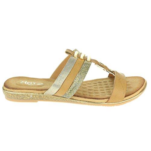 Femmes Dames T-Bar Slip ON Étourdissant Plage Open Toe Été Casual Confort Plat Sandales Chaussures Taille Kaki