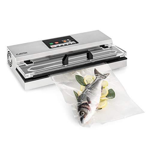 KLARSTEIN FoodLocker 650 - Macchina Sottovuoto, Sigillante Sottovuoto, 650 Watt, Display Digitale, Tempo e Pressione Sottovuoto Regolabile, Anche per Cibi Sensibili, Acciaio Inox, Argento