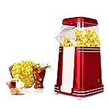 AIQQ Popcornmaschine Ölfreie popcornmaschine im Heißluft Popcorn Maker mit Messbecher 1100W/Retro-Metallgehäuse,Eine Taste zu Bedienen110g Rot-Popcorn-Maschine