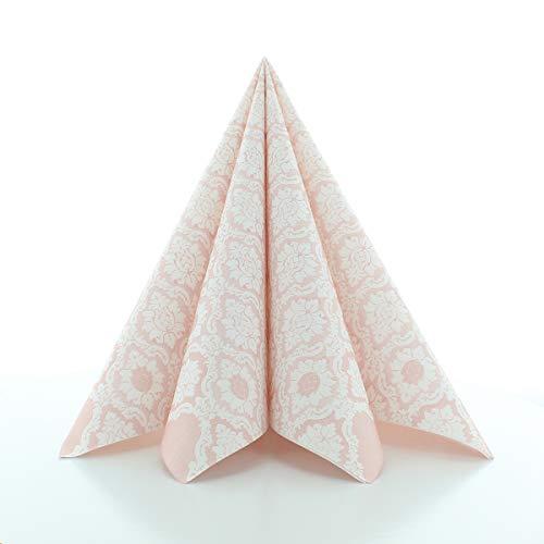 Sovie Horeca Serviette Mandy | Airlaid-Servietten 40x40 cm | hochwertige Einweg-Servietten für Feiern | extrem saugstark & stoffähnlich | 50 Stück | Altrosa