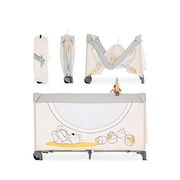 Hauck Dream N Play Go, 5-Part Travel Cot from Birth to 15 kg, 120 x 60 cm, Folding Travel Bed with Folding Mattress, Carry Bag, Play Arch and Toy Bag, Tilt-Resistant, Pooh Cuddles Disney Suitable from birth Includes fold up mattress (60 x 120cm) Folds away into its own carry bag 9
