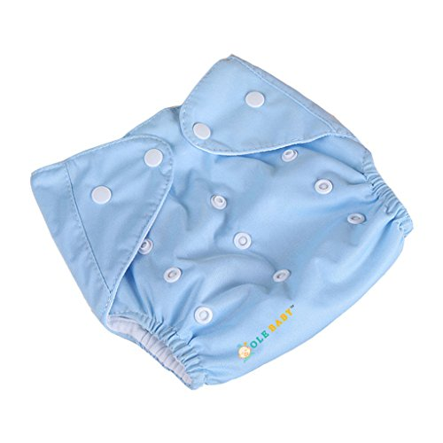 Ole Baby Cloth Diaper Reusable Nappy Anti Bacterial Washable Free Size Adjustable Waterproof Covered With 2 Organic Cotton Insert Lining 0-2 Years