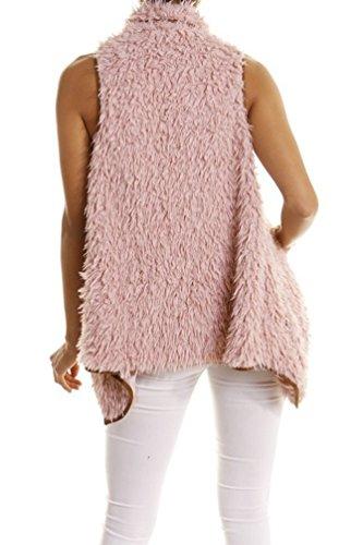 CHENGYANG Donna Elegante Gilet Caldo Outwear Senza Maniche in Pelliccia Sintetica Panciotto del Cappotto Rosa