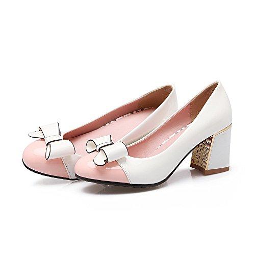 AllhqFashion Femme Rond à Talon Correct Verni Couleurs Mélangées Tire Chaussures Légeres Rose