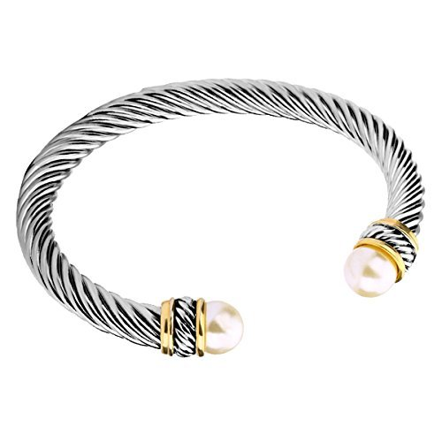 316932ec5 UNY Fashion Jewelry Brand Cable Wire Bangle Elegant Beautiful Imitation  Pearl Valentine