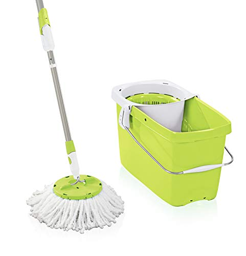 Leifheit 52077 Set Clean Twist Disc Mop Shiny Green Set Bodenwischer, Metall, 48 x 27 cm -