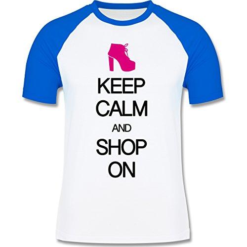 Keep calm - Keep calm and shop on - zweifarbiges Baseballshirt für Männer Weiß/Royalblau