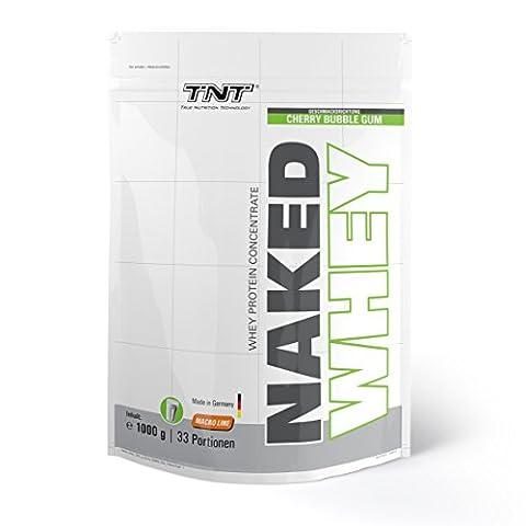 Un concentré de Whey protéine de grande qualité – Made in Germany | Shake de protéine pour le développement musculaire et perdre du poids | Sans aspartame, sans gluten avec BCAA | TNT NAKED WHEY poudre de protéine 1kg sac / BUBBLE GUM