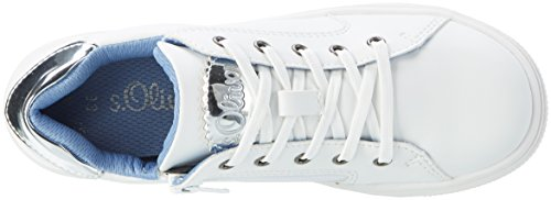s.Oliver 43205, Sneakers Basses Fille Blanc (WHITE 100)