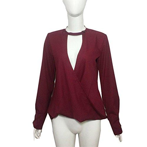 LHWY Donne Girocollo in V Collo Sciolto Manica Lunga-Top Camicia Vino Rosso