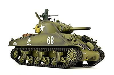 ES-TOYS RC Panzer US M4A3 Sherman Heng Long 1:16 mit Rauch&Sound+2,4Ghz - Pro Edition - Metallgetriebe, Metallketten und Metallräder von ES-TOYS