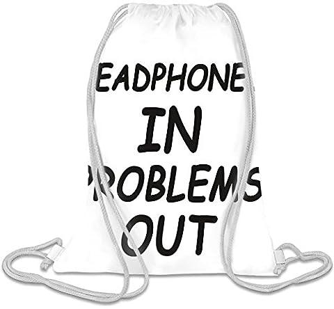 Headphones In Problems Out Slogan Kordelzug Beutel