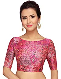 be4b348e199587 STUDIO SHRINGAAR PINK ABSTRACT PRINT READYMADE SAREE BLOUSE WITH ELBOW  LENGTH SLEEVES