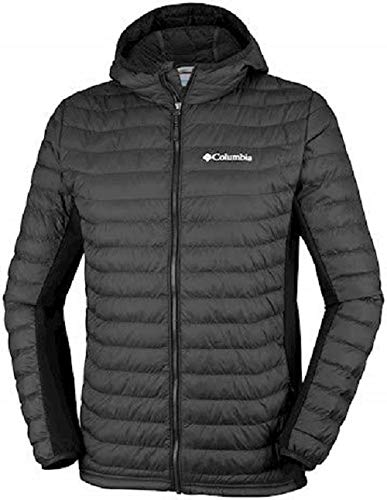 Columbia Kapuzenjacke für Herren, POWDER LITE LIGHT HOODED JACKET, Hi-Loft Synthetic Insulation, Schwarz (Black), Gr. L, 1773271