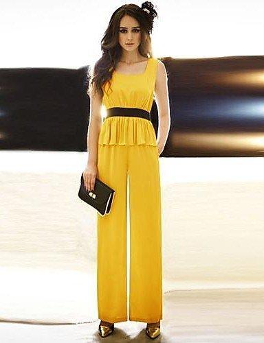 GSP-u cou manches péplum faux modèle deux-pièces à long combinaison des femmes joannekitten® yellow-m
