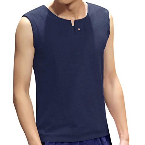 Zolimx Sommer Strand Unterhemden Einfarbig Weste Vintage Tankshirt Regular Fit Freizeithemd Slim Fit Sommer Männer Freizeitmode Wild Solid Color Button Weste