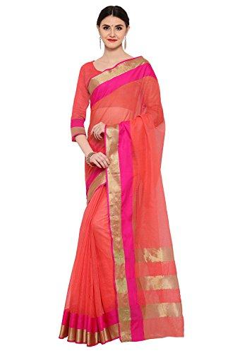 AppleCreation Women's Silk Saree With Blouse Piece (Linen Silk Sarees_Lnn117_Peach)