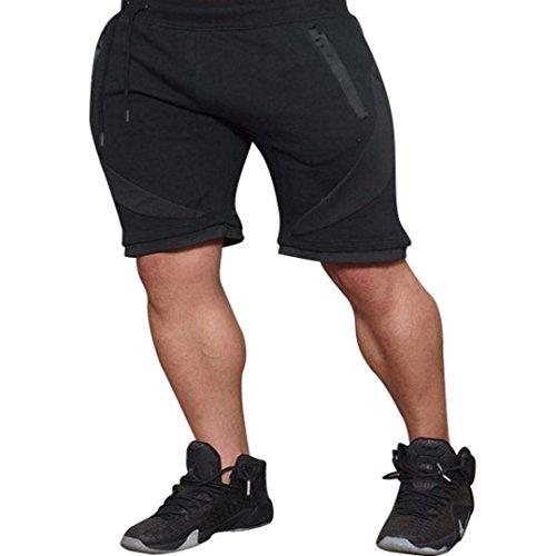 OSYARD Männer Lässige Elastische Stretchy Bodybuilding MuscleBermuda Jogging Hose(XL, Schwarz) (Bootcut-hose Petite)