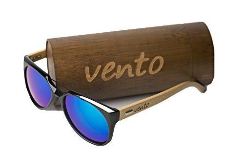 Vento Eyewear® modelo Lipari Black&Blue - Gafas de sol de madera de bambú, diseñadas en Italia con certificados CE y protección UV400, Marco negro lentes azul