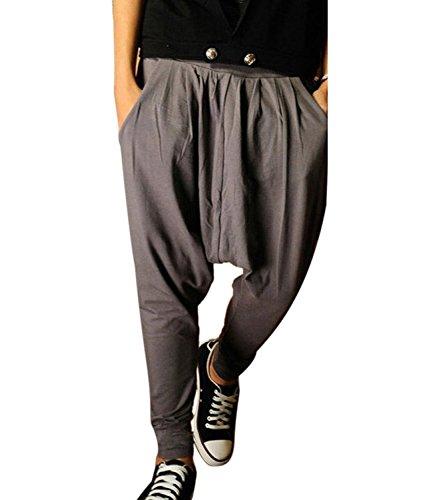 Minetom Herren Haremshosen Maenner elastisch Baumwolle Baggy Hose Sporthose lange Jogging Freizeithose ( Grau EU M )